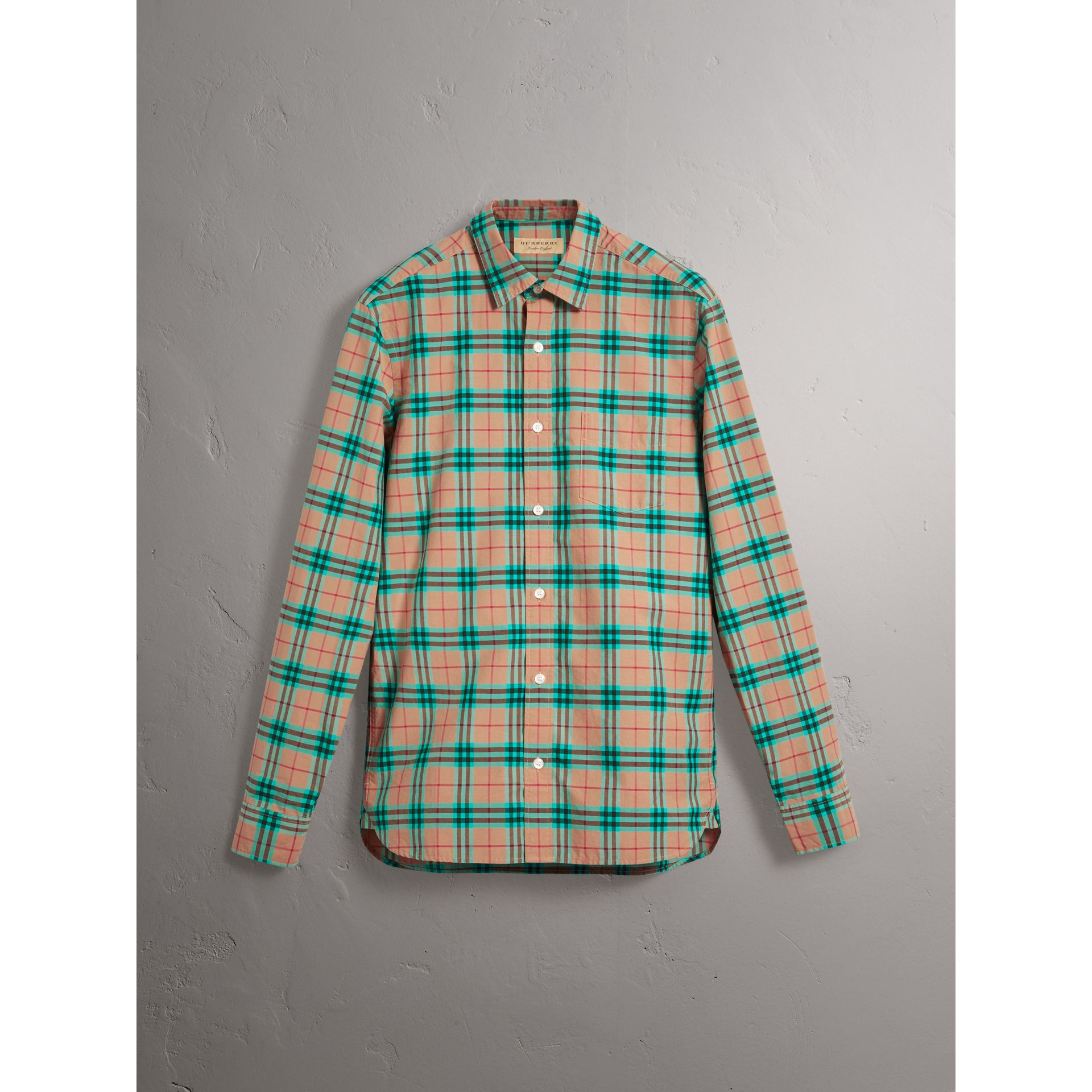 Check Cotton Shirt in Aqua Green - Men | Burberry Singapore - gallery image 3
