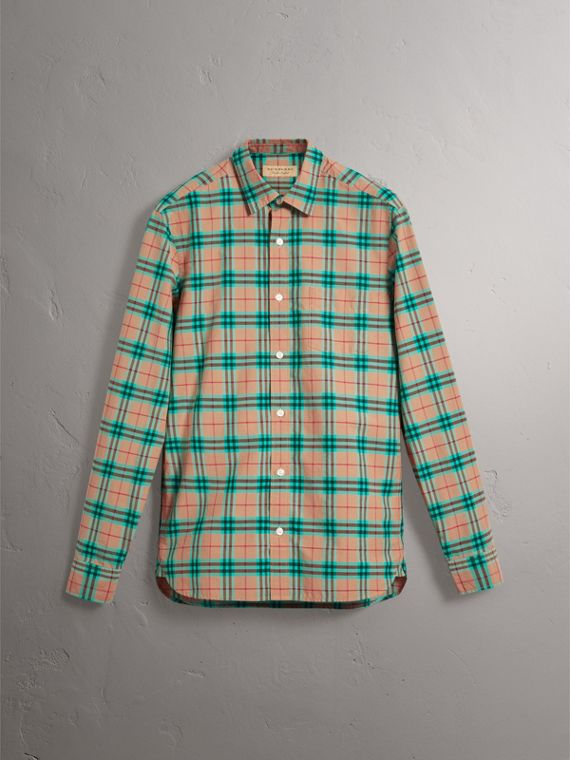 Check Cotton Shirt in Aqua Green - Men | Burberry Australia - cell image 3
