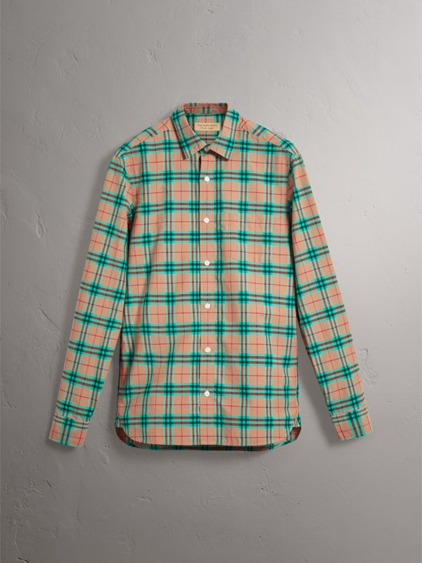 Check Cotton Shirt in Aqua Green - Men | Burberry Singapore - cell image 3