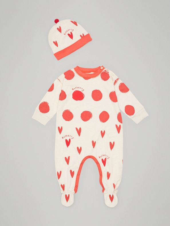 Spot and Heart Print Cotton Two-piece Baby Gift Set in Bright Red
