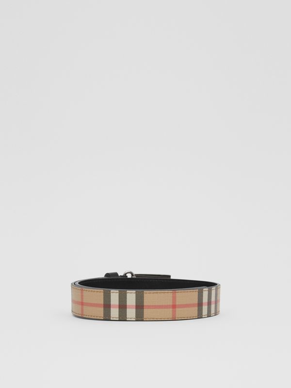 Plaque Buckle Vintage Check E-canvas Belt in Archive Beige - Children | Burberry - cell image 3