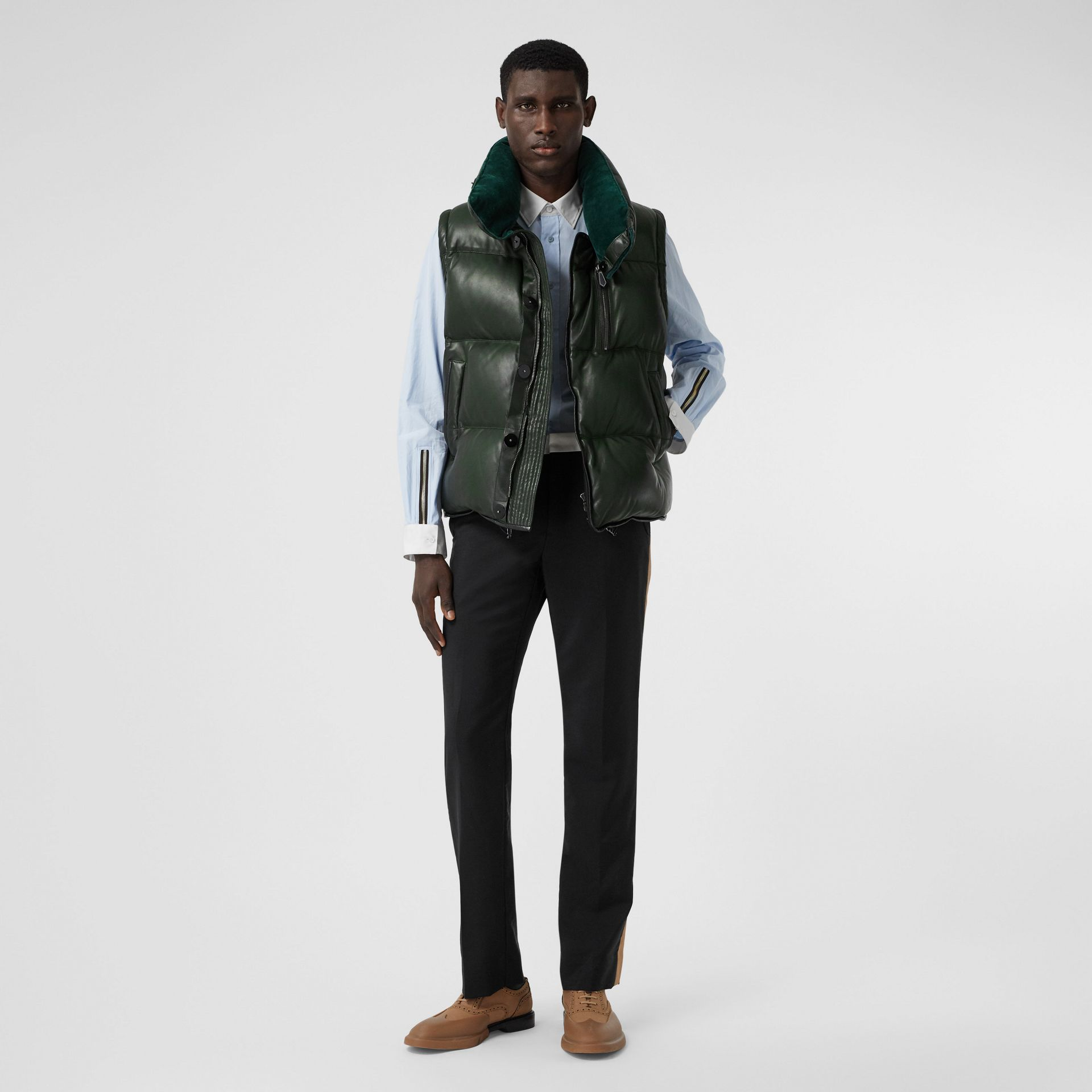 Velvet Trim Down-filled Lambskin Puffer Gilet in Dark Pine Green - Men | Burberry - gallery image 4