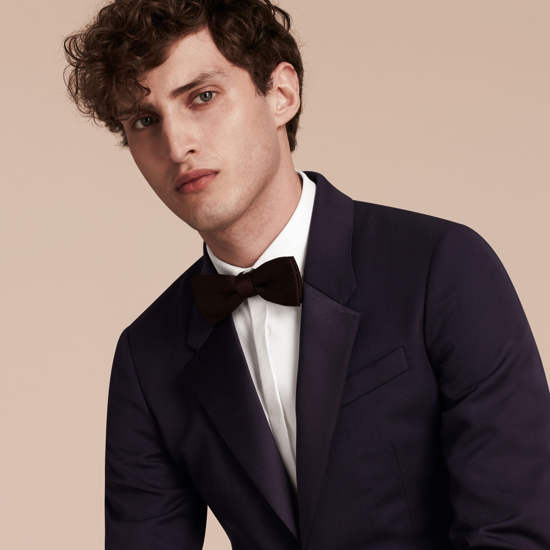 Dark navy Slim Fit Wool Tuxedo Jacket - gallery image 5