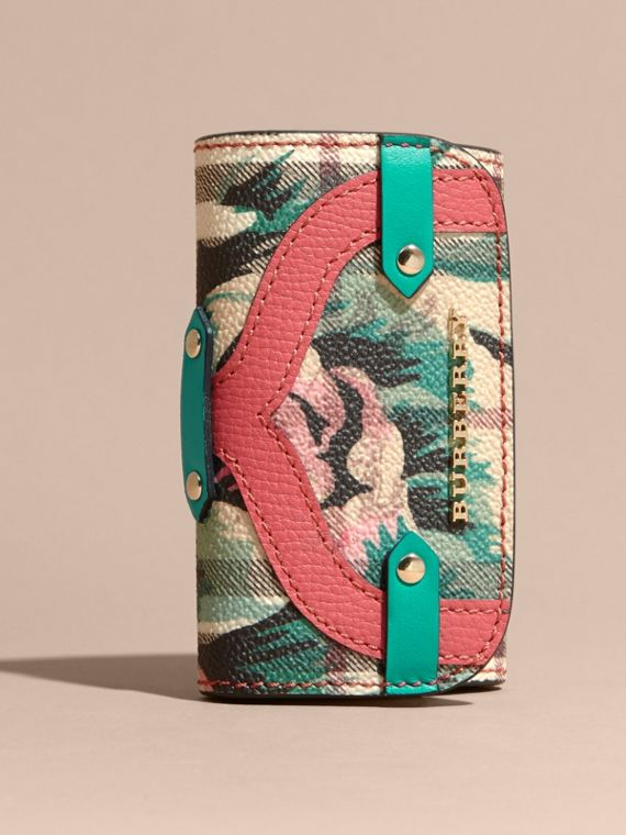 Leather Appliqué Peony Rose Print Haymarket Check Card Case in Plum Pink - cell image 2