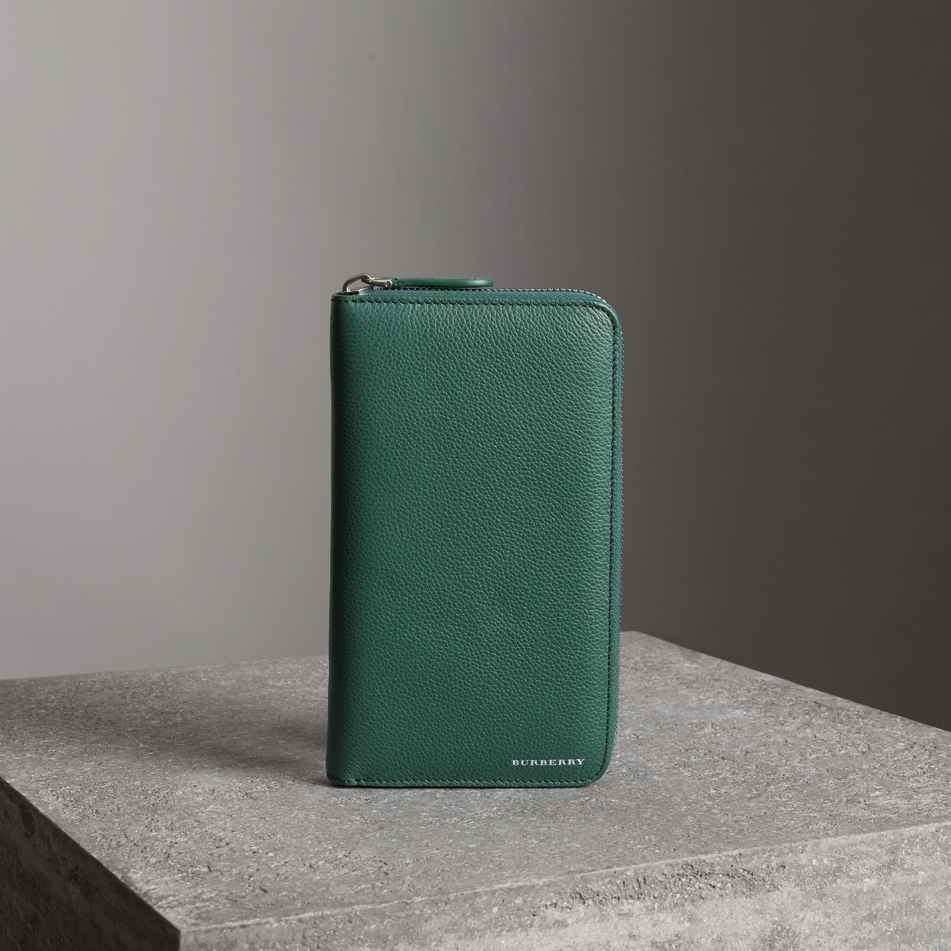 Grainy Leather Ziparound Wallet in Dark Cyan - Men | Burberry - gallery image 0