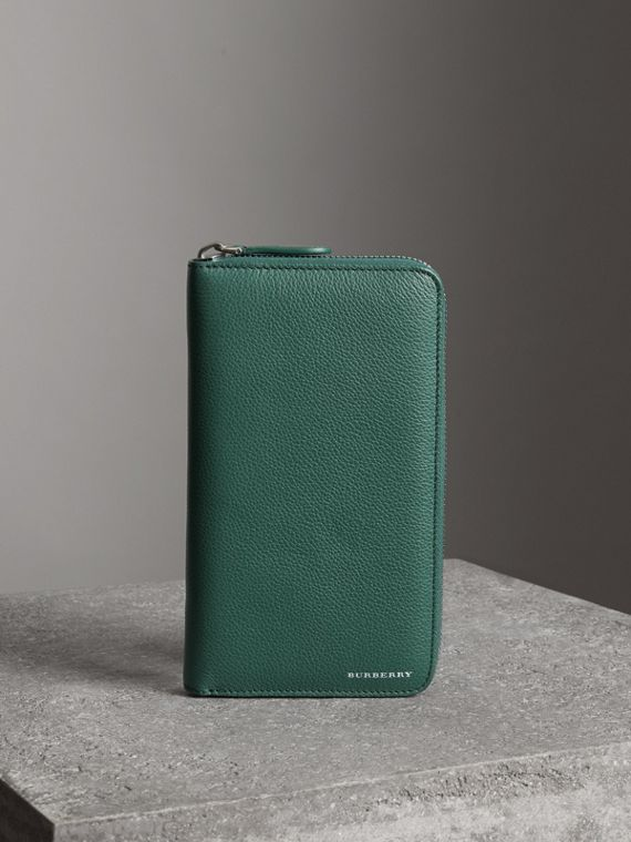 Grainy Leather Ziparound Wallet in Dark Cyan