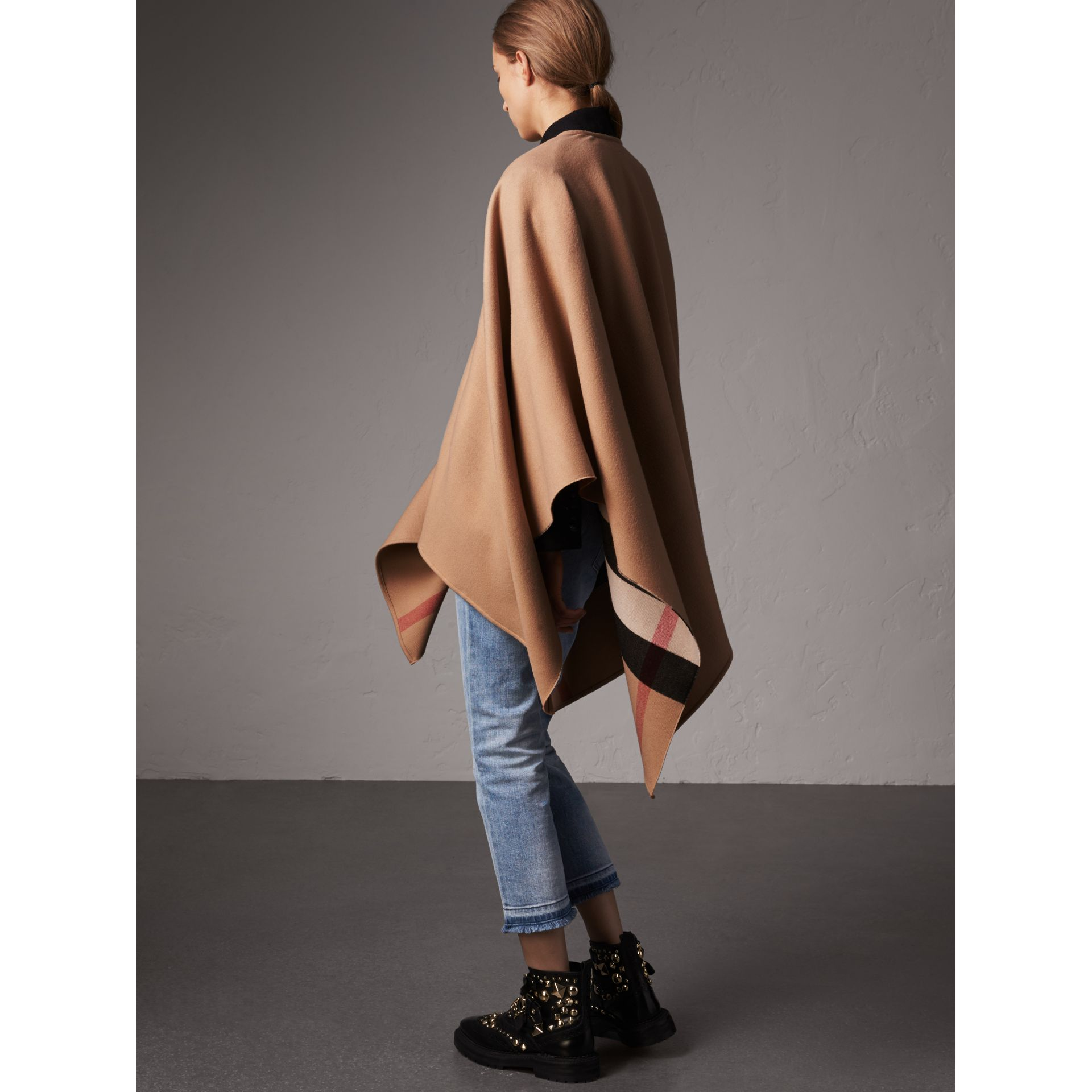 Reversible Check Merino Wool Poncho in Camel - Women | Burberry Australia - gallery image 2