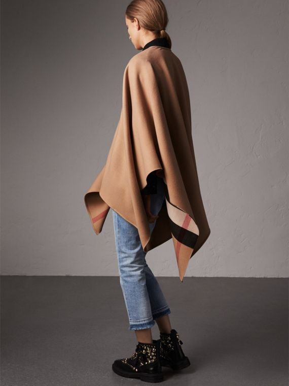 Reversible Check Merino Wool Poncho in Camel - Women | Burberry Australia - cell image 2