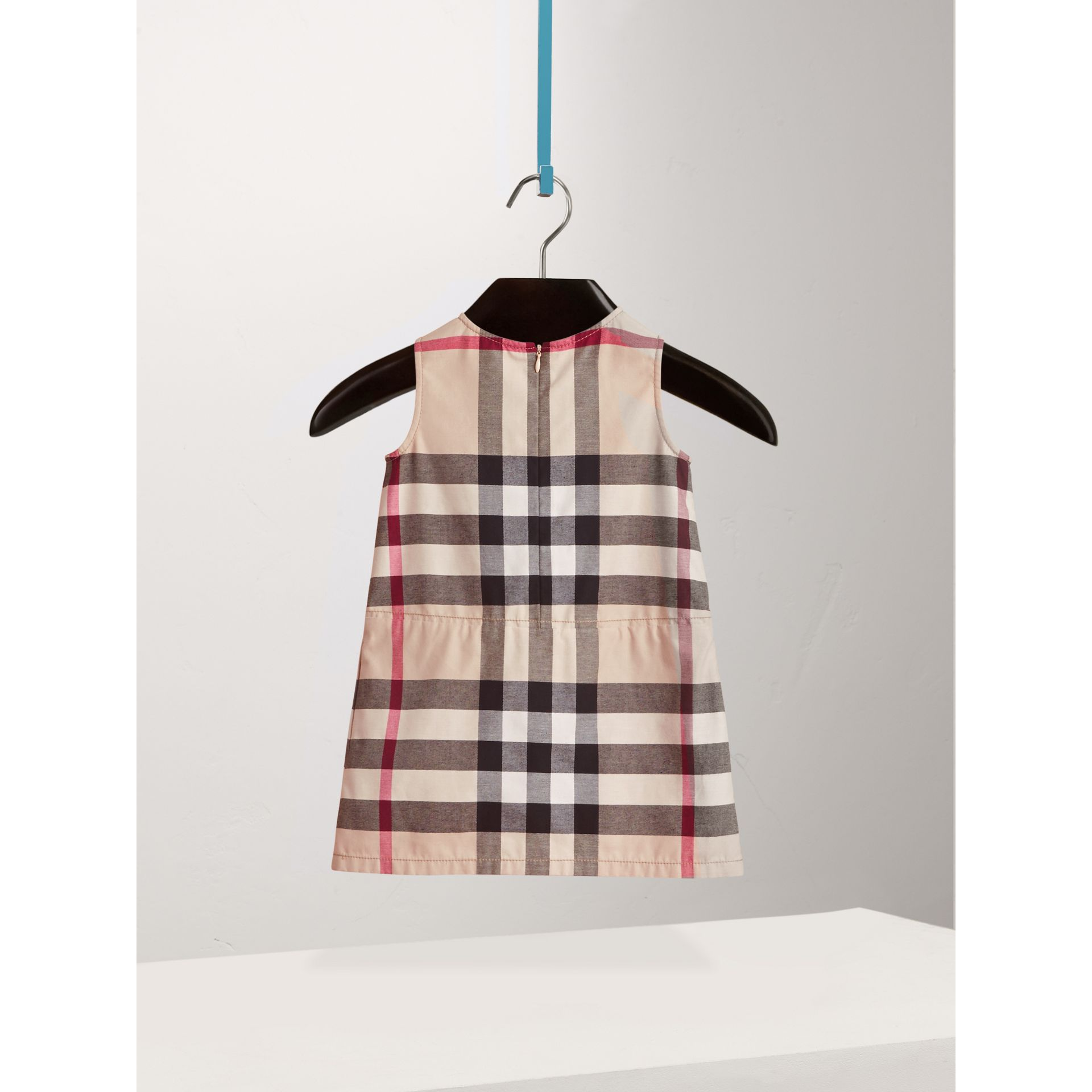 Pleated Check Washed Cotton A-line Dress in Stone - Girl | Burberry - gallery image 3