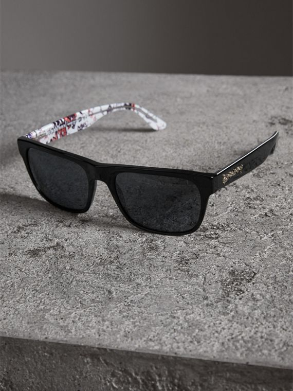 Doodle Square Frame Sunglasses in Black - Men | Burberry - cell image 2