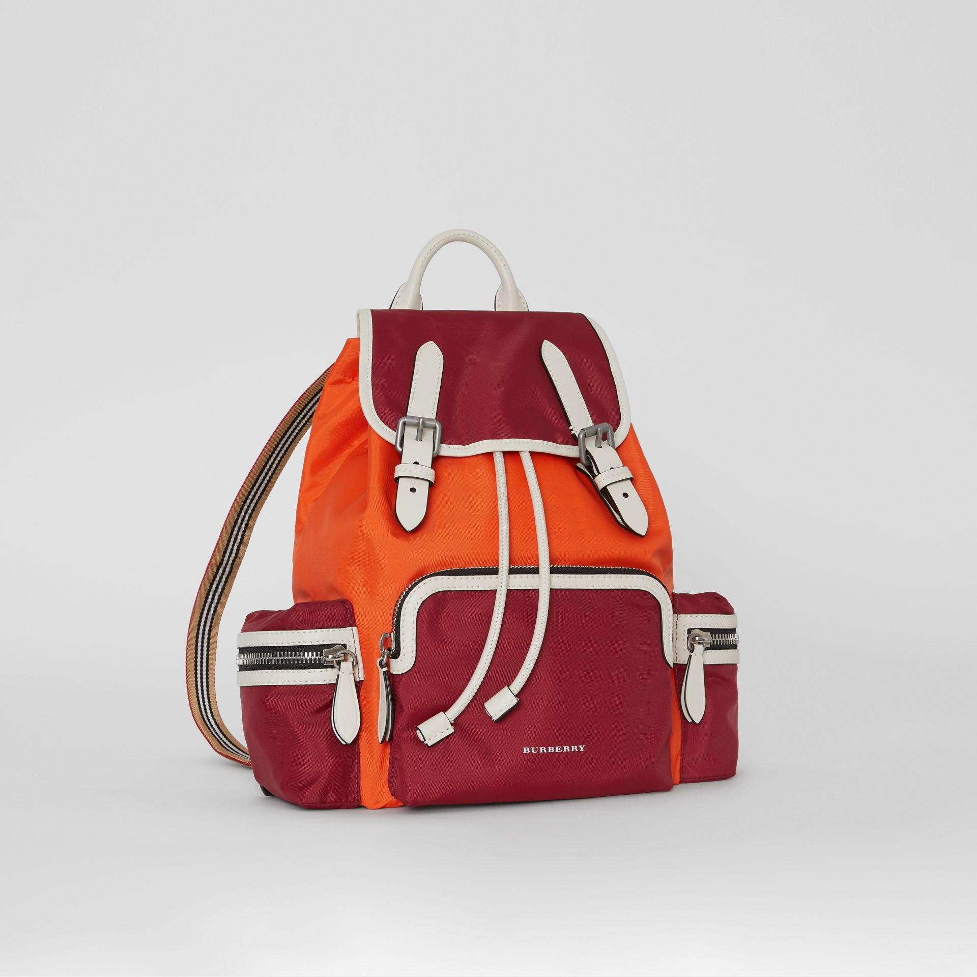 The Medium Rucksack in Colour Block Nylon in Parade Red - Women | Burberry - gallery image 7