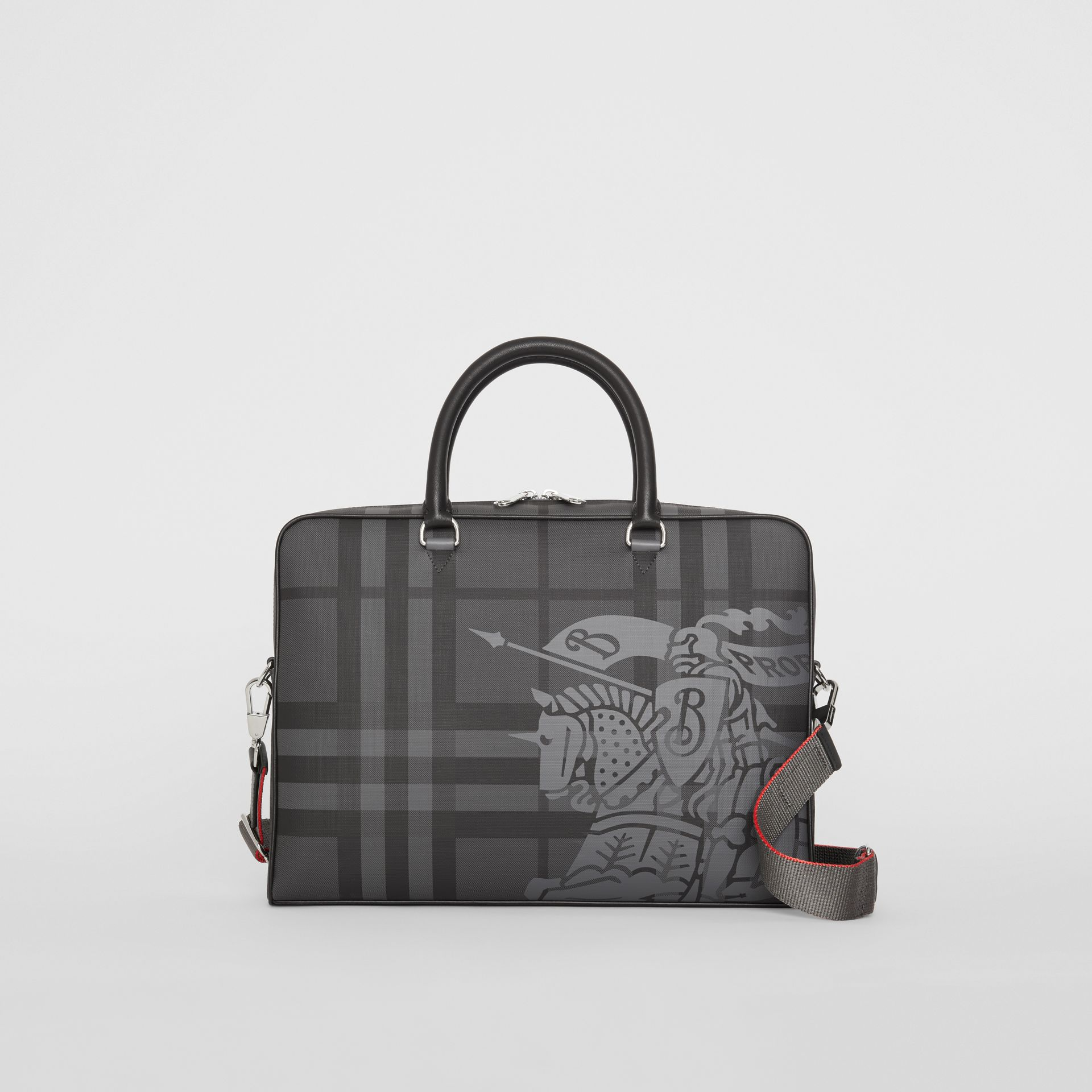 Attaché-case en cuir à motif London check et emblème du Cavalier (Anthracite/noir) - Homme | Burberry Canada - photo de la galerie 0