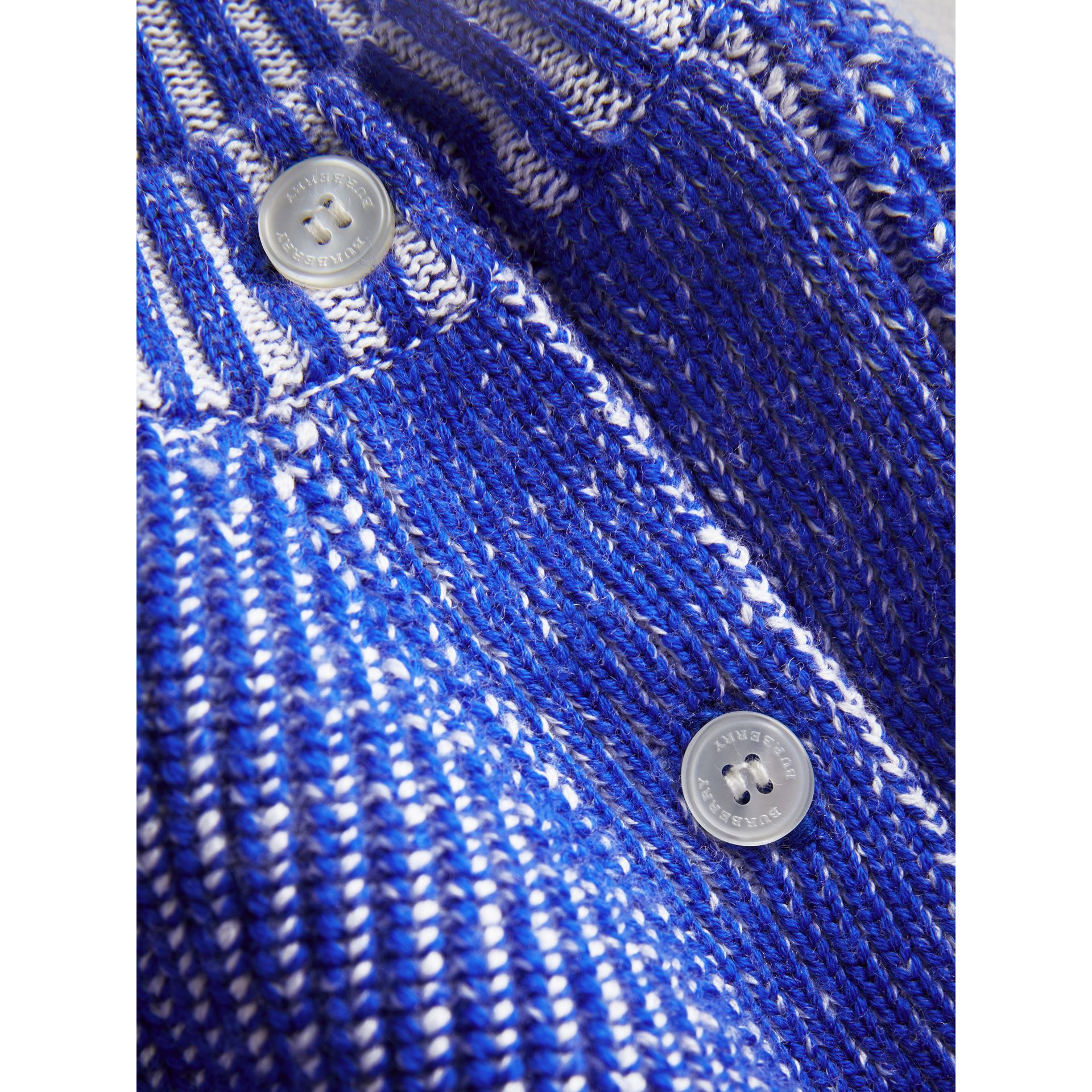 Rib Knit Merino Wool Sweater in Cerulean Blue | Burberry - gallery image 1