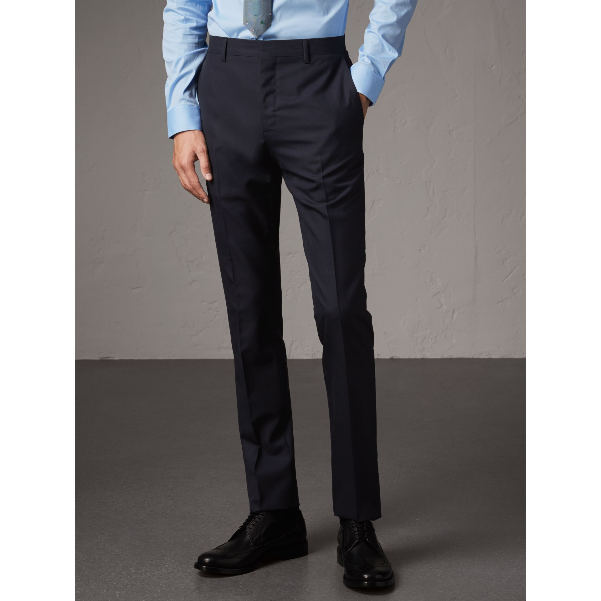 Slim Fit Wool Part-canvas Suit in Navy - Men | Burberry Canada - gallery image 8