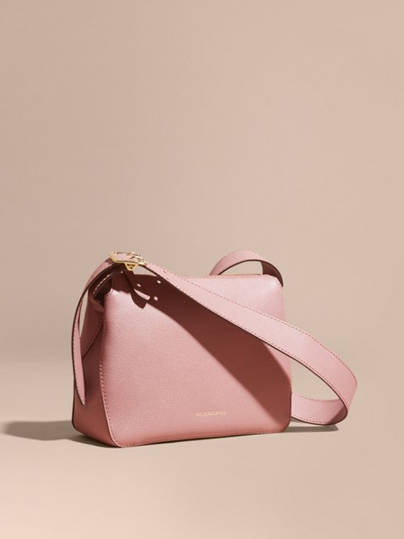 Buckle Detail Leather Crossbody Bag Dusty Pink