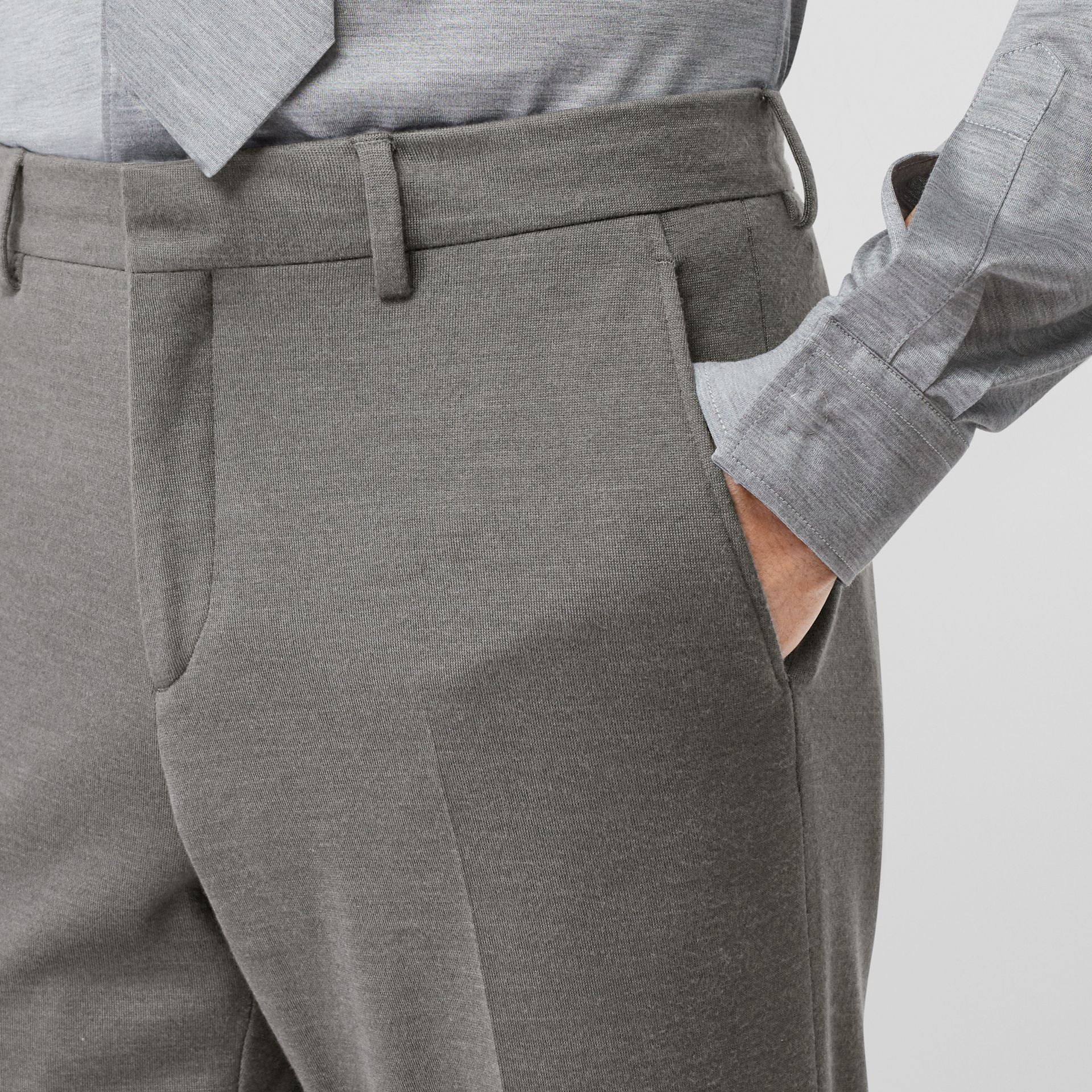 English Fit Cashmere Silk Jersey Tailored Trousers in Cloud Grey | Burberry - gallery image 1