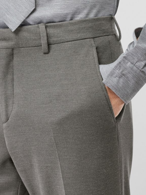 English Fit Cashmere Silk Jersey Tailored Trousers in Cloud Grey | Burberry - cell image 1