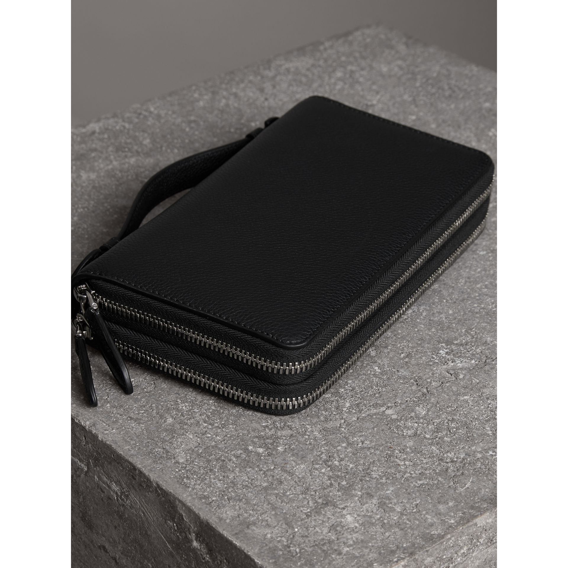 Grainy Leather Travel Wallet in Black - Men | Burberry Australia - gallery image 2