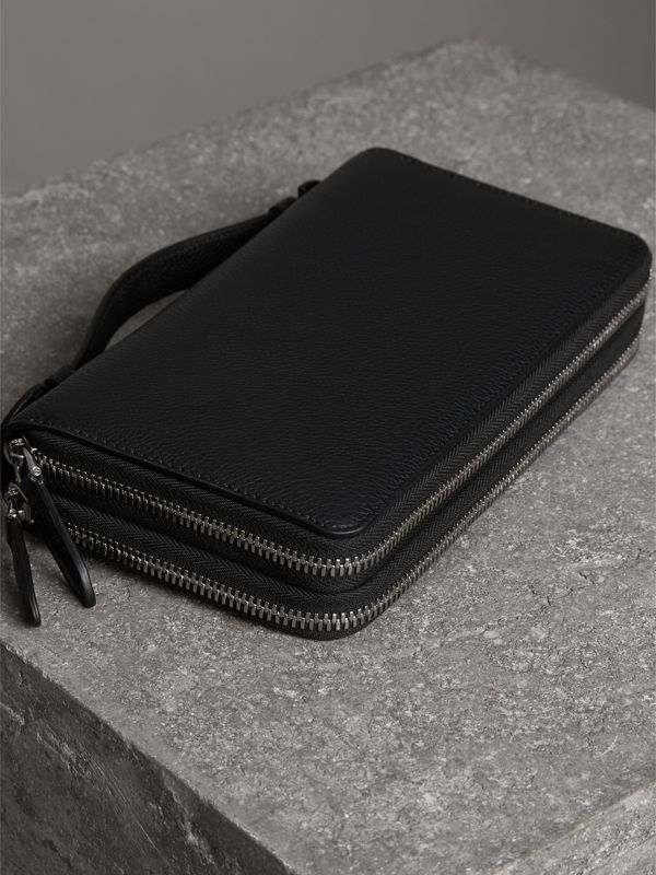 Grainy Leather Travel Wallet in Black - Men | Burberry Australia - cell image 2
