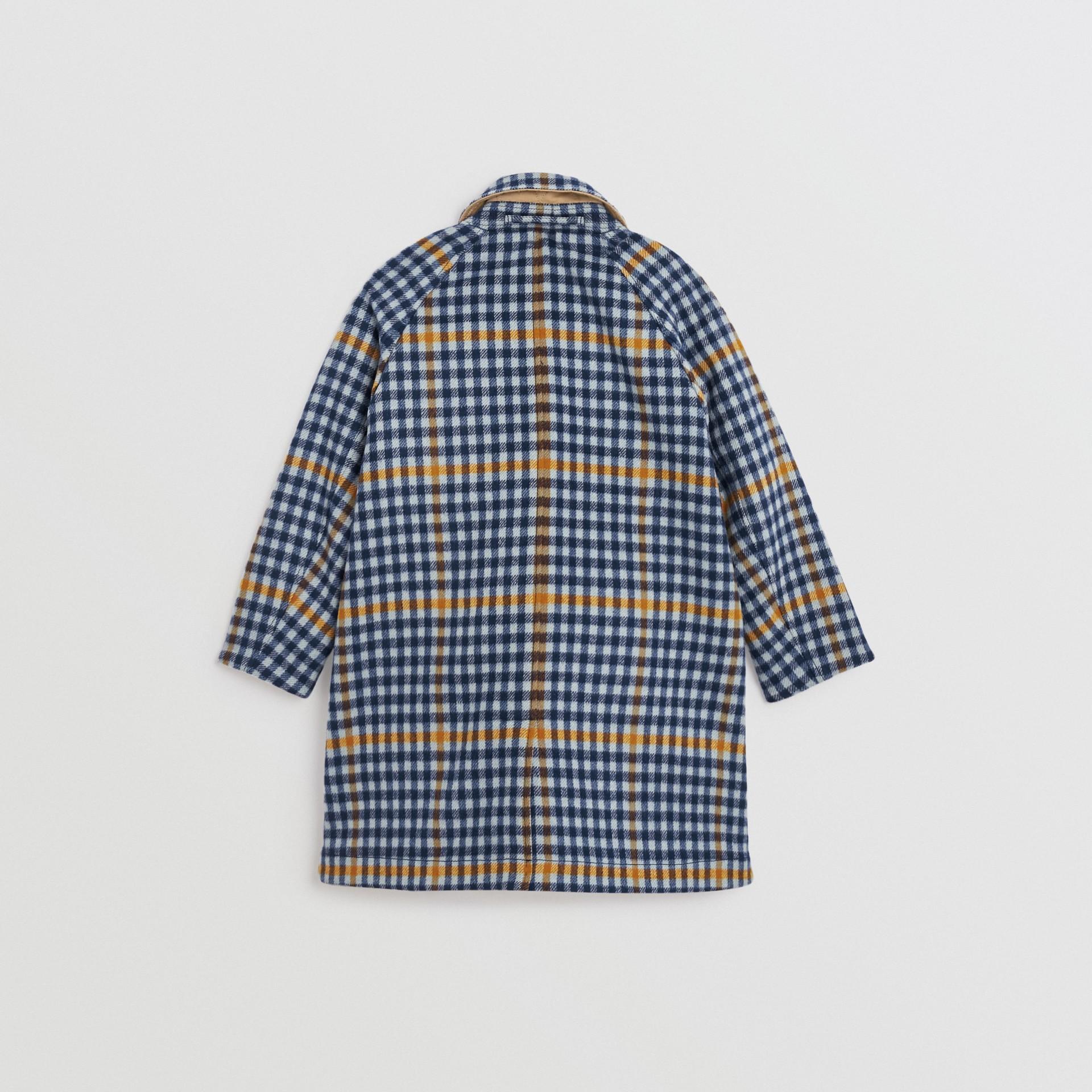 Car coat dupla face de algodão e lã com estampa xadrez (Azul Lona) | Burberry - galeria de imagens 5