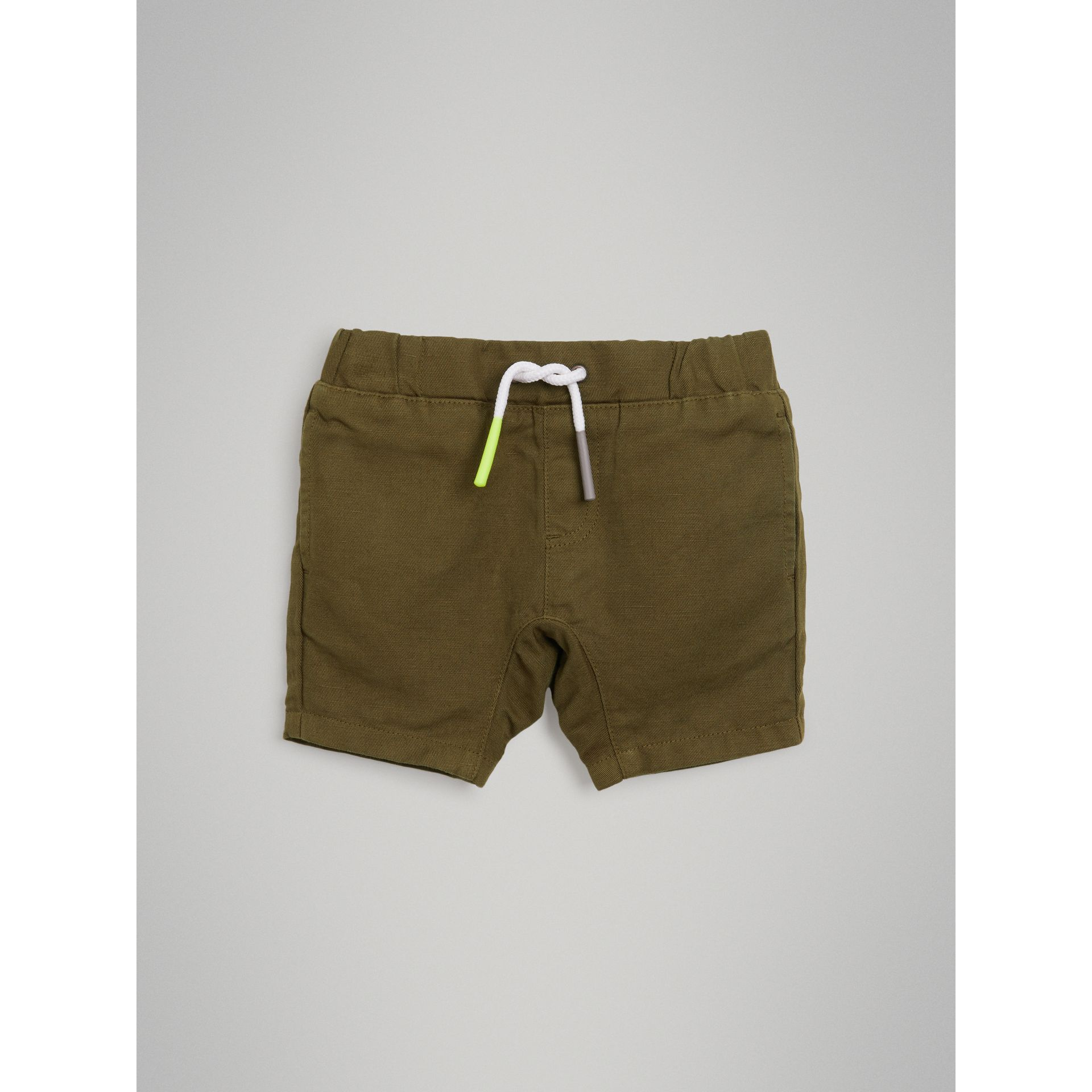 Drawcord Cotton Linen Twill Shorts in Olive | Burberry - gallery image 2