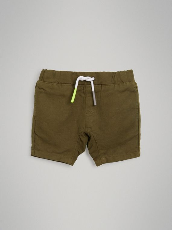 Drawcord Cotton Linen Twill Shorts in Olive | Burberry - cell image 2