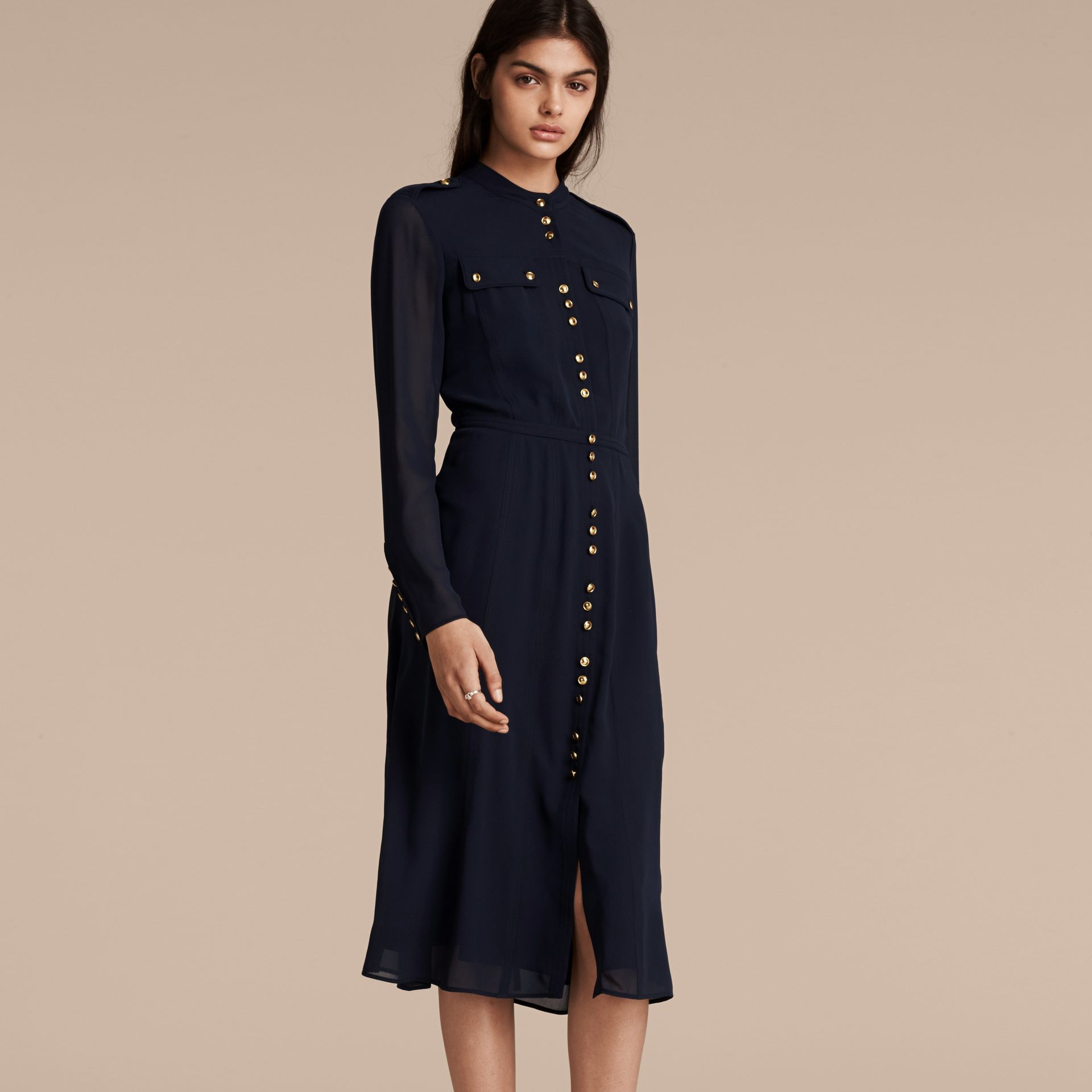 Navy Silk Dress with Polished Buttons - gallery image 7