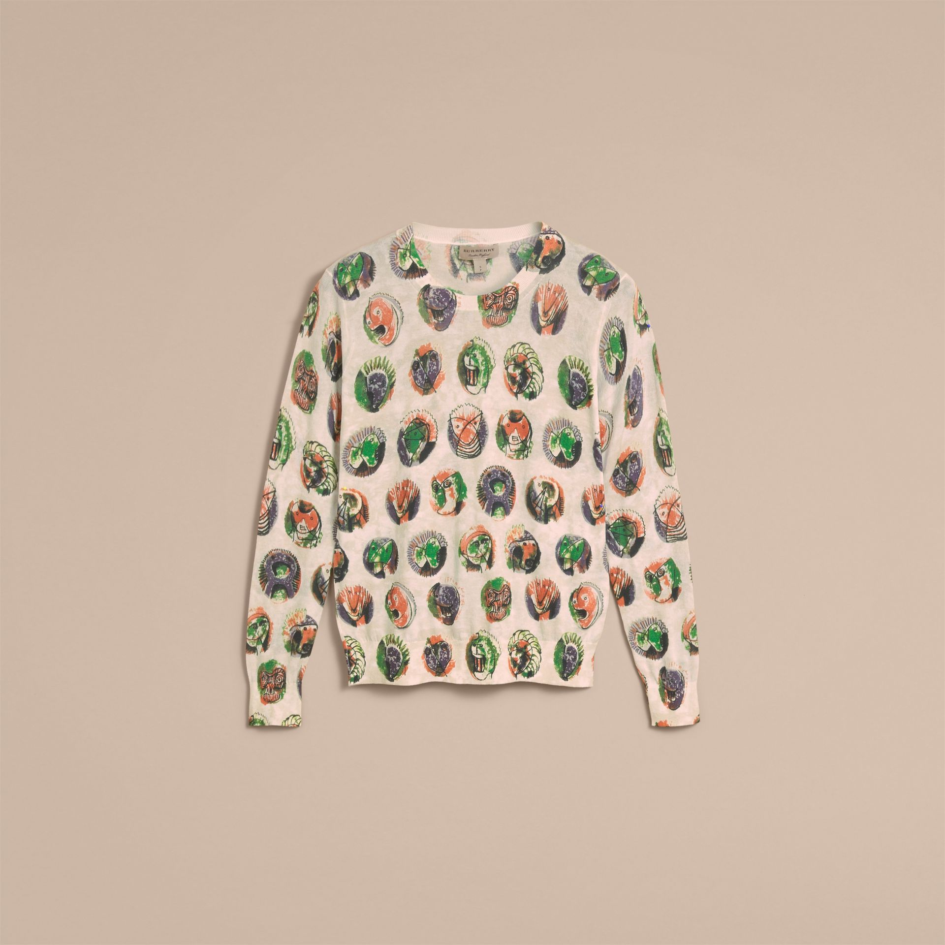 Pallas Heads Print Cotton Sweater in Natural White - Women | Burberry - gallery image 4