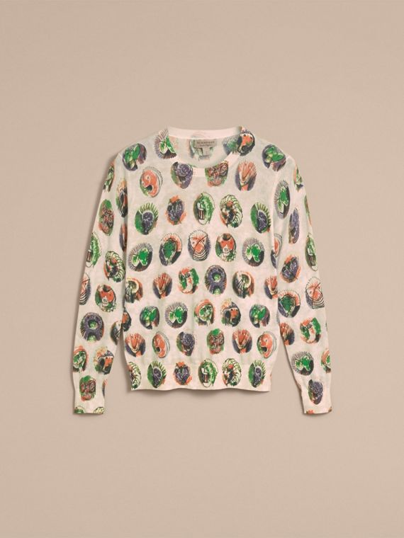 Pallas Heads Print Cotton Sweater in Natural White - Women | Burberry - cell image 3