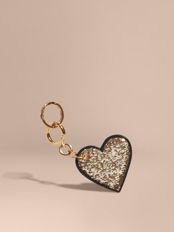Bijou porte-clés en cuir velours avec cœur à sequins