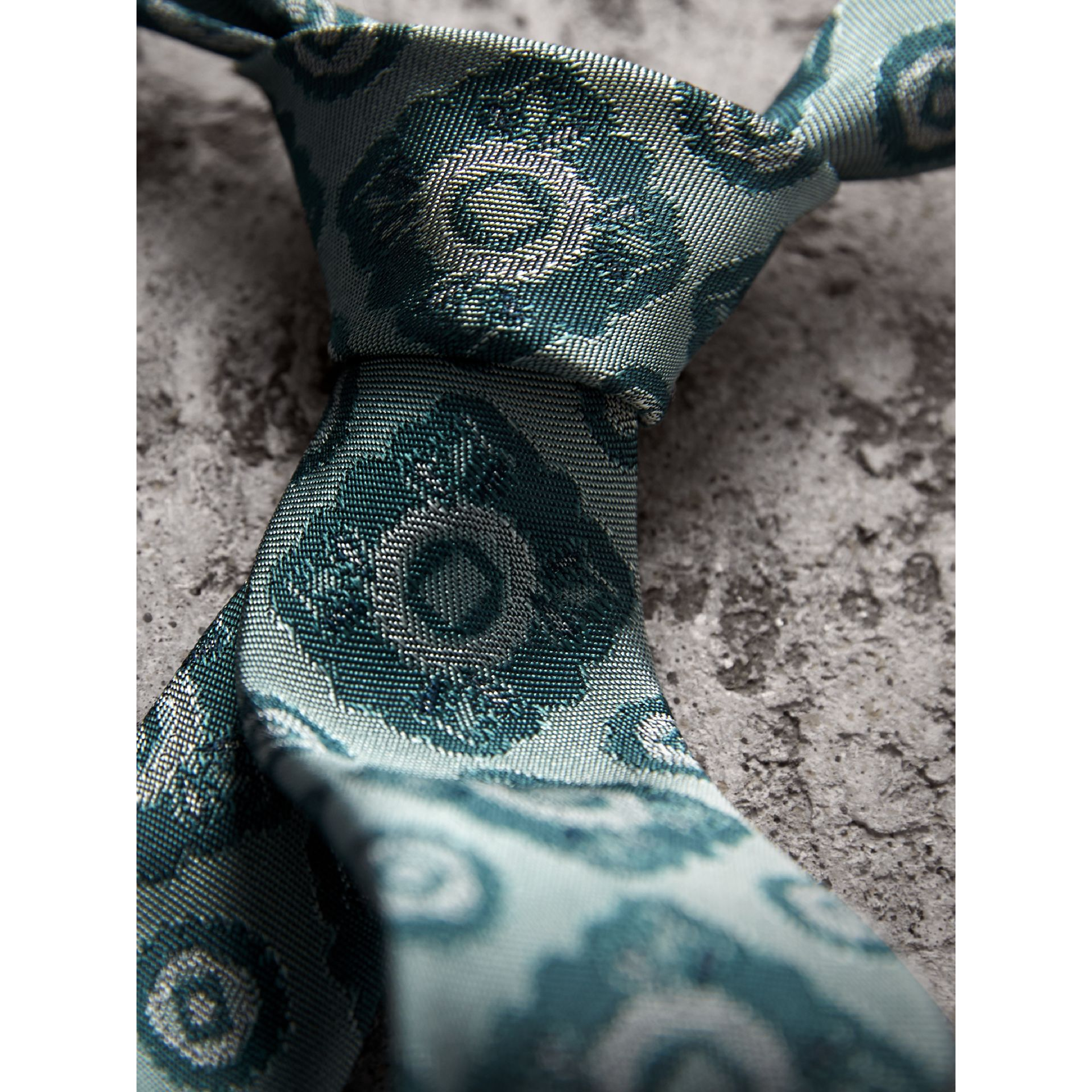 Slim Cut Tiled Floral Silk Jacquard Tie in Cyan Green - Men | Burberry - gallery image 2