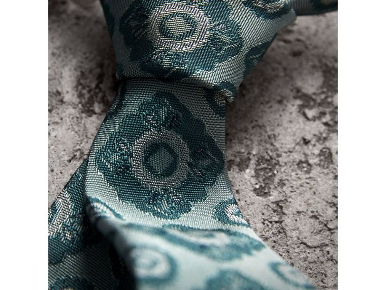 Slim Cut Tiled Floral Silk Jacquard Tie in Cyan Green - Men | Burberry United Kingdom - cell image 1