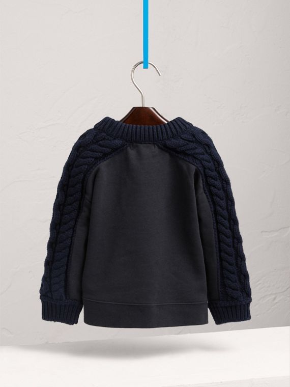 Cable Knit-sleeve Embroidered Cotton Sweatshirt in Navy - Girl | Burberry - cell image 3