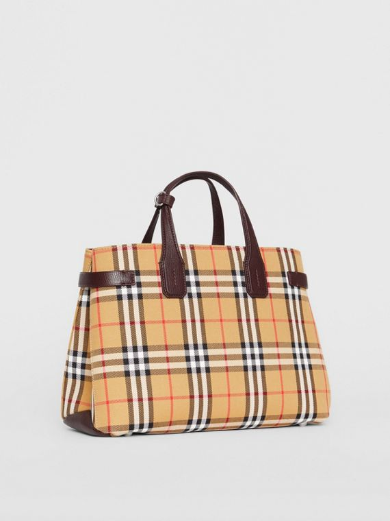 Sac The Banner moyen en cuir et Vintage check (Bordeaux Intense)