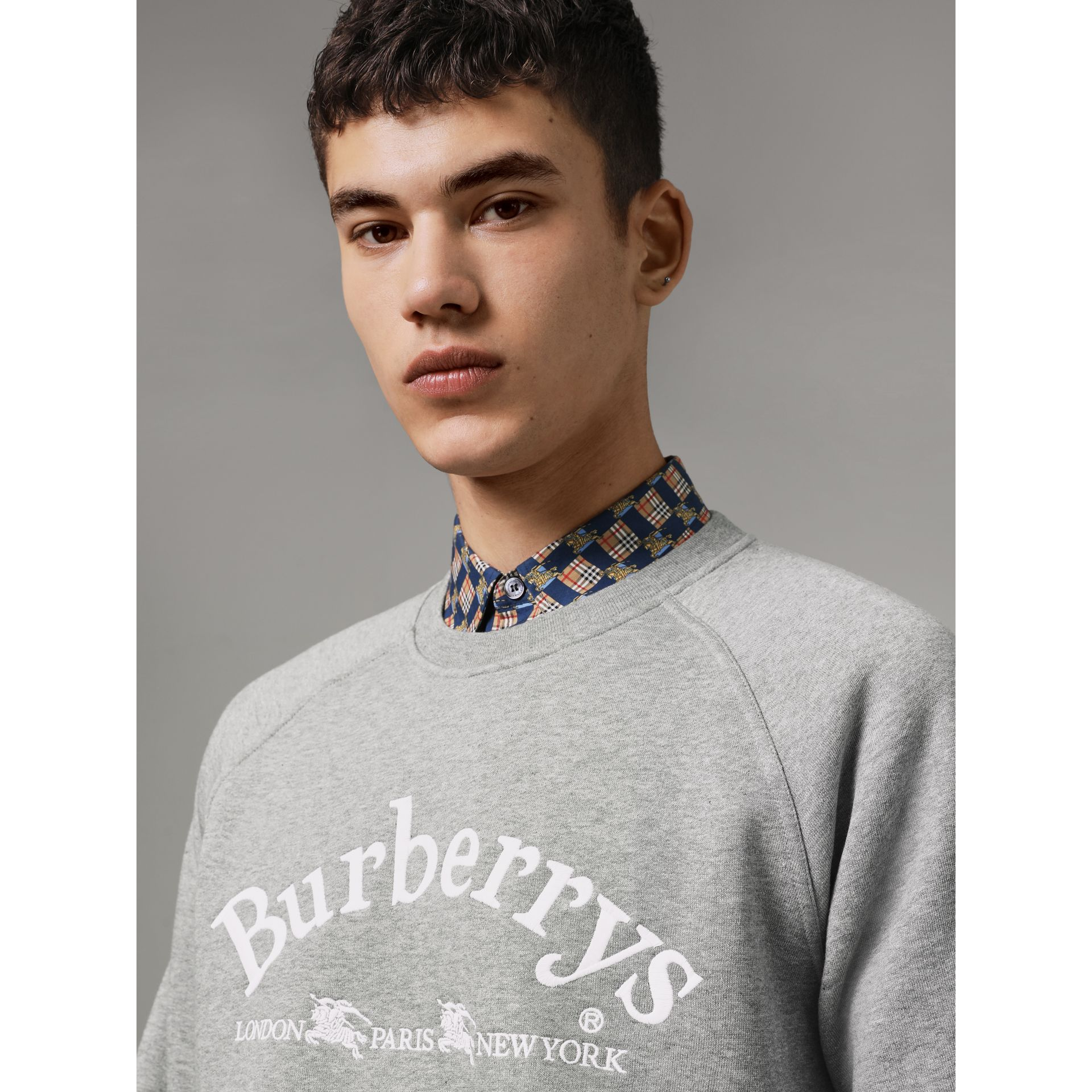 Embroidered Archive Logo Jersey Sweatshirt in Pale Grey Melange - Men | Burberry - gallery image 1