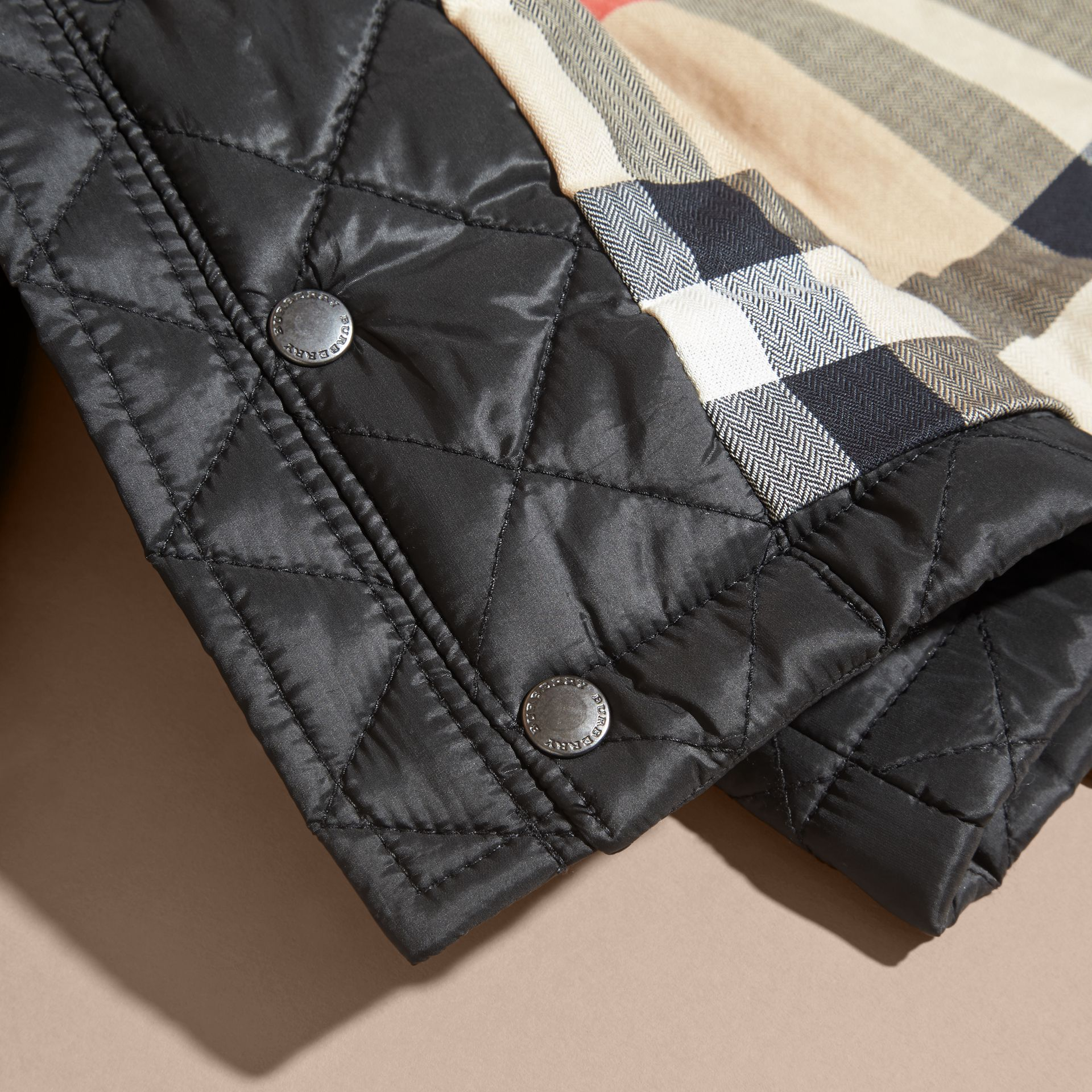 Black Check Detail Diamond-quilted Jacket Black - gallery image 2