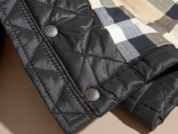 Black Check Detail Diamond-quilted Jacket Black - cell image 1