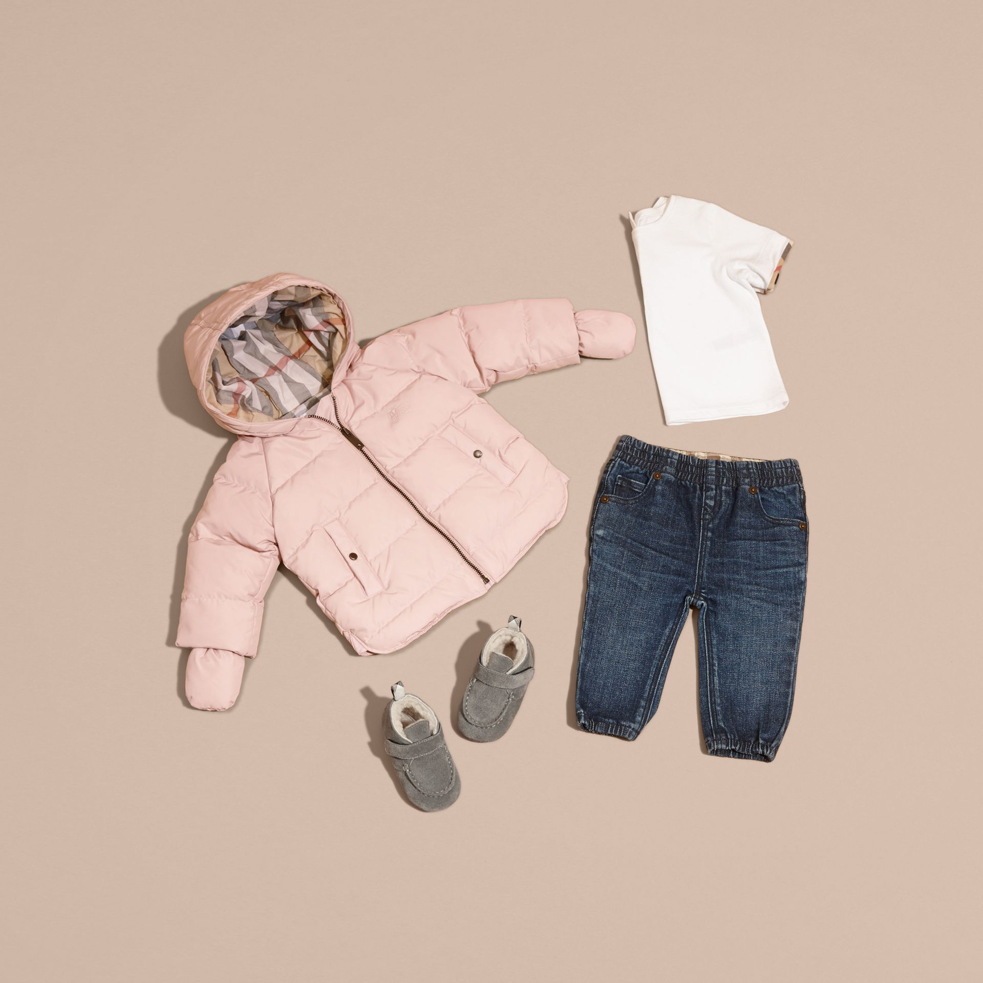 Powder pink Hooded Down-filled Puffer Jacket with Mittens Powder Pink - gallery image 5