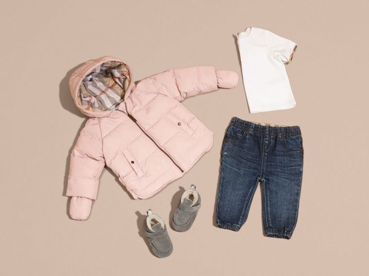 Hooded Down-filled Puffer Jacket with Mittens Powder Pink - cell image 4