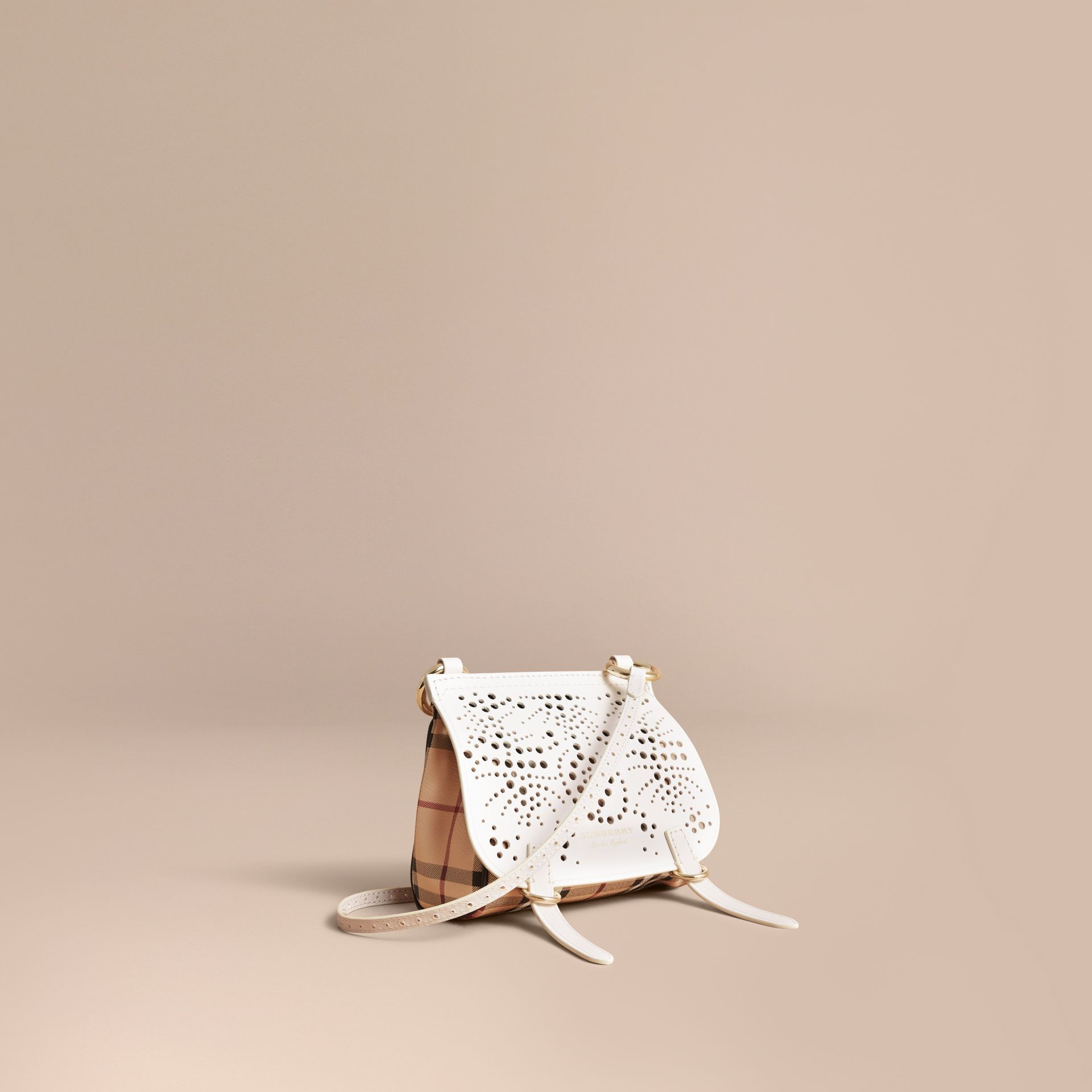 The Baby Bridle Bag in Leather and Haymarket Check in Natural - gallery image 1