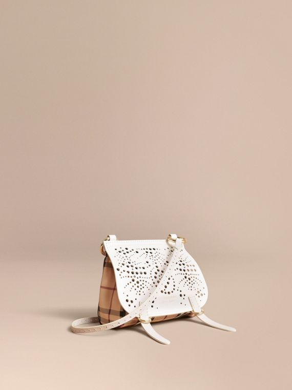 Bolso Baby Bridle en piel y Haymarket Checks (Natural)