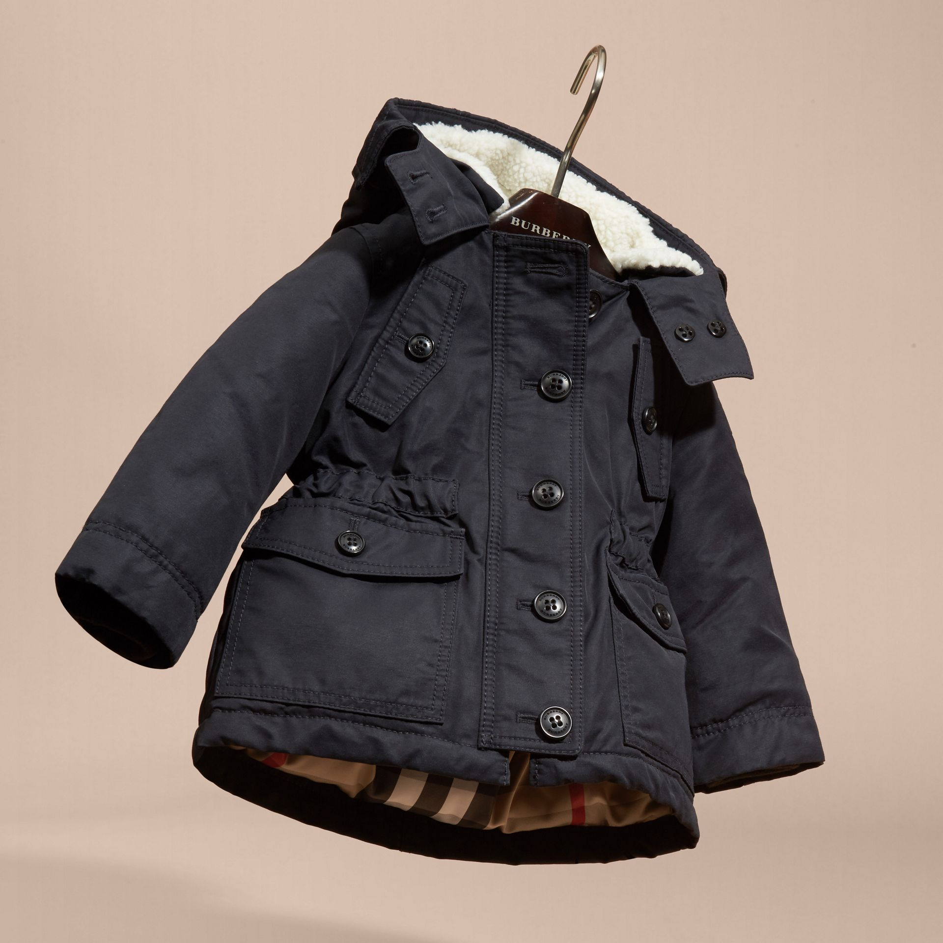 Navy Down-filled Coat with Detachable Hood Lining - gallery image 3