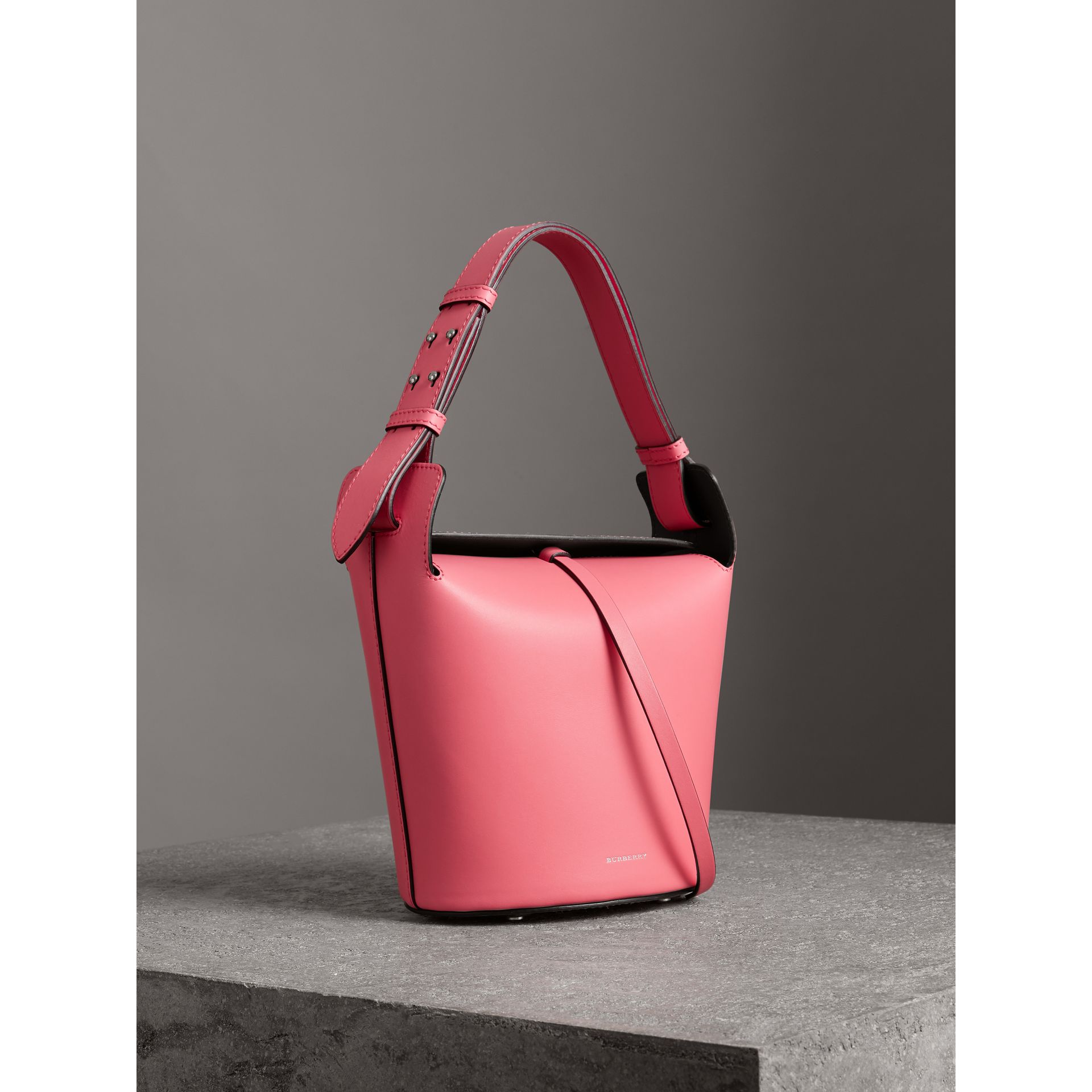 The Small Leather Bucket Bag in Bright Coral Pink - Women | Burberry United Kingdom - gallery image 6