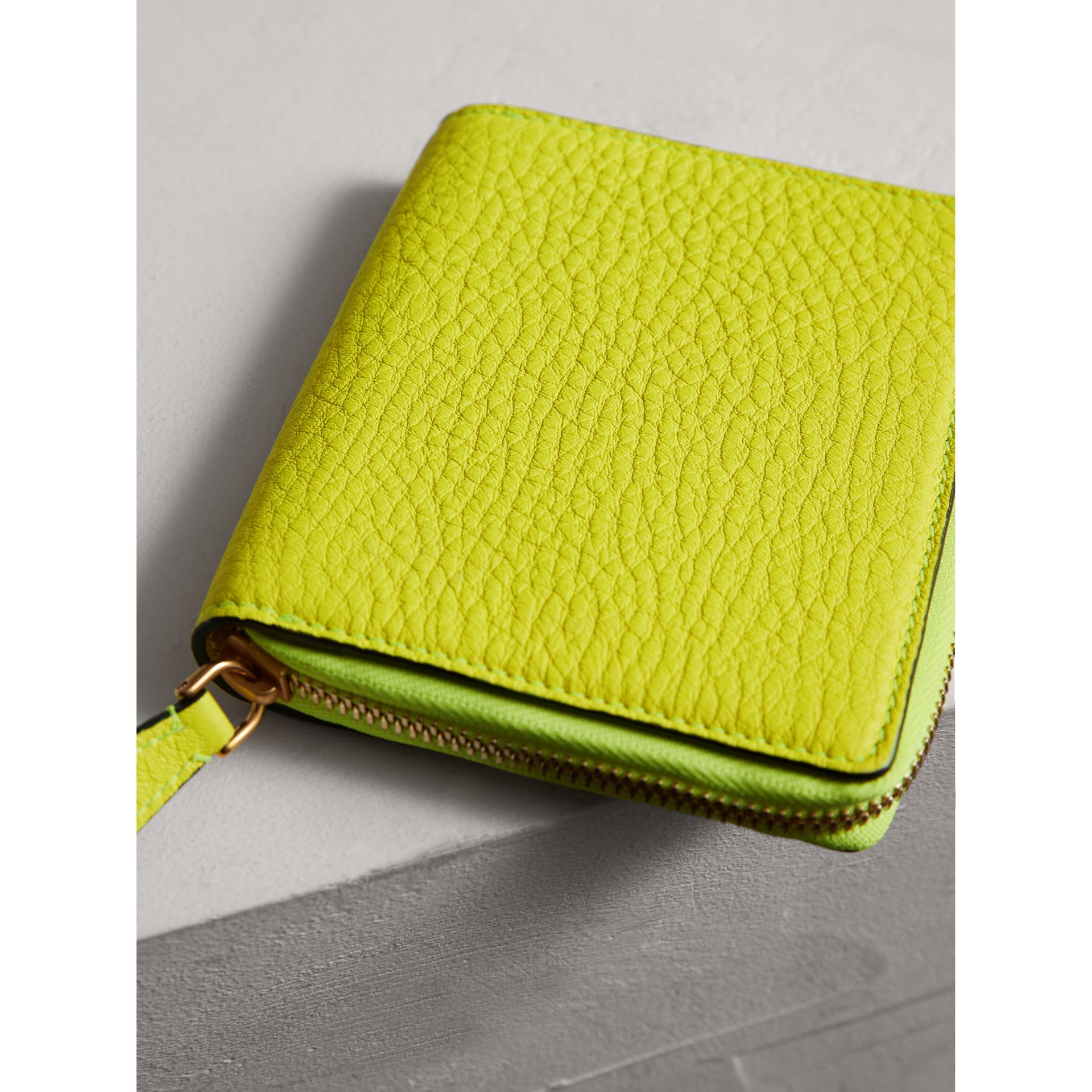 Embossed Grainy Leather Ziparound A6 Notebook Case in Bright Yellow | Burberry - gallery image 2
