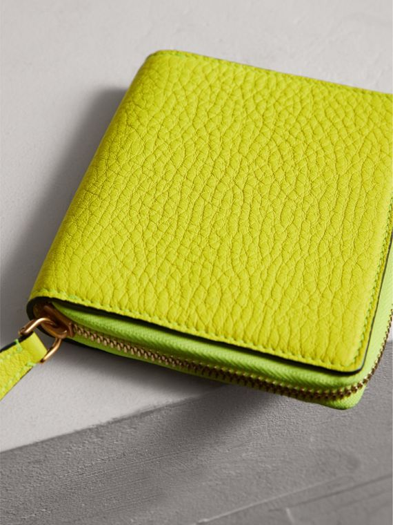 Embossed Grainy Leather Ziparound A6 Notebook Case in Bright Yellow | Burberry - cell image 2