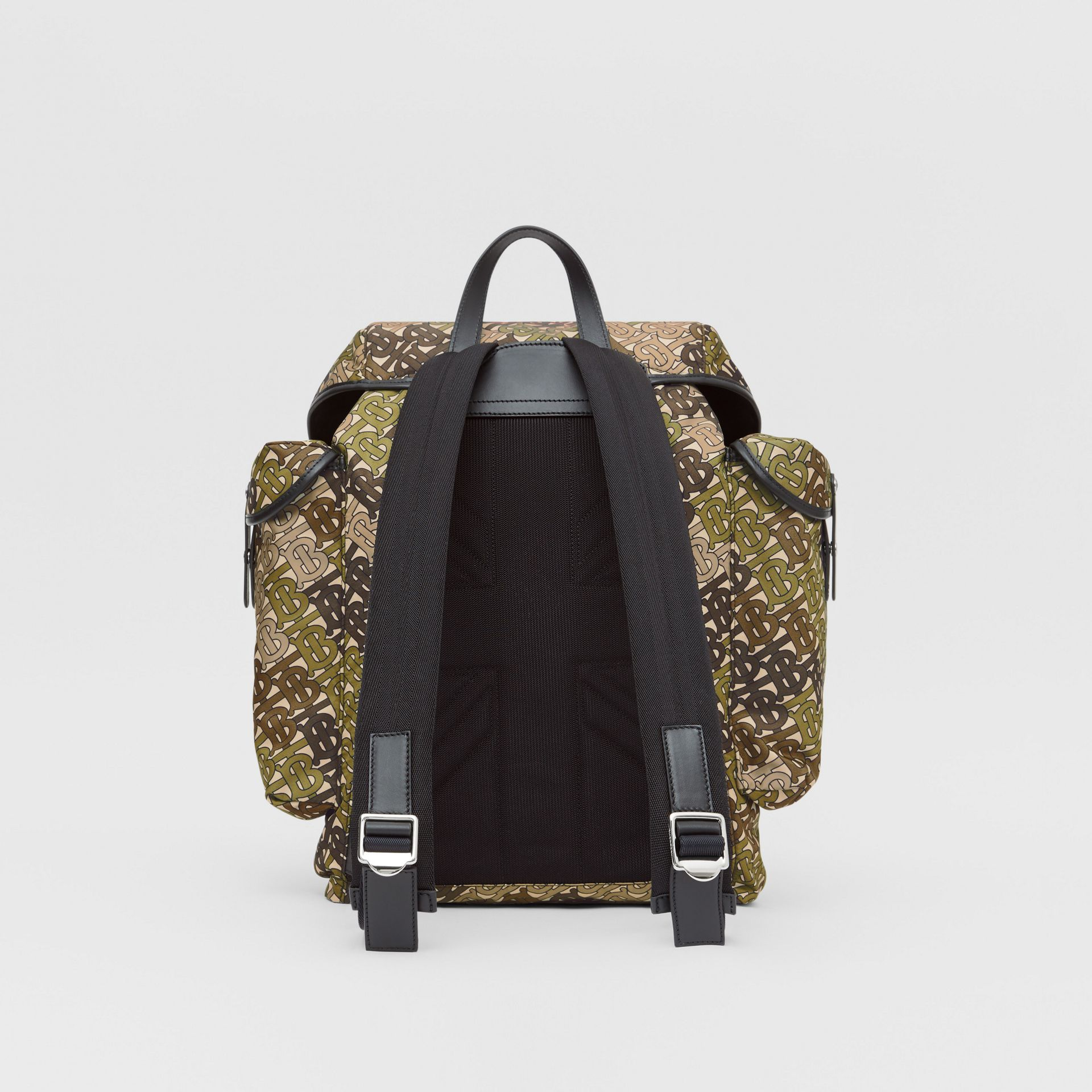 Medium Monogram Print Nylon Backpack in Khaki Green - Men | Burberry Canada - gallery image 7