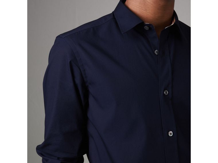 Check Cuff Stretch Cotton Poplin Shirt in Navy - Men | Burberry - cell image 4