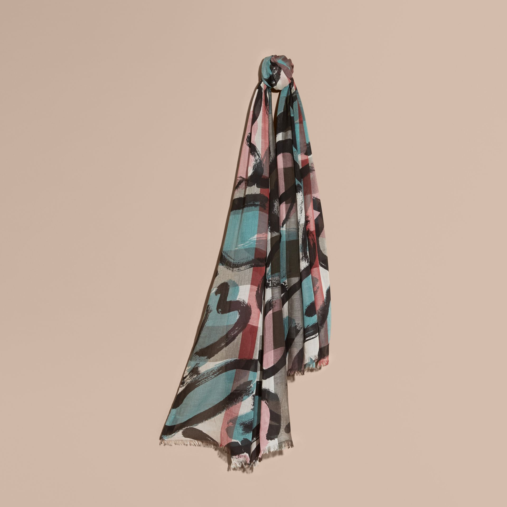 Painterly Print Check Modal, Silk and Cashmere Scarf Stone/pale Peridot Blue - gallery image 1