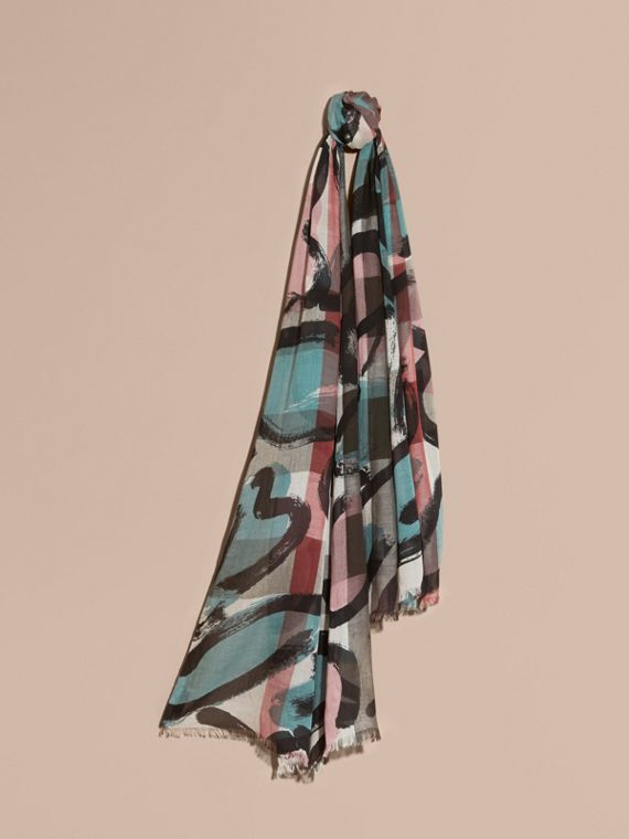 Painterly Print Check Modal, Silk and Cashmere Scarf in Stone/pale Peridot Blue