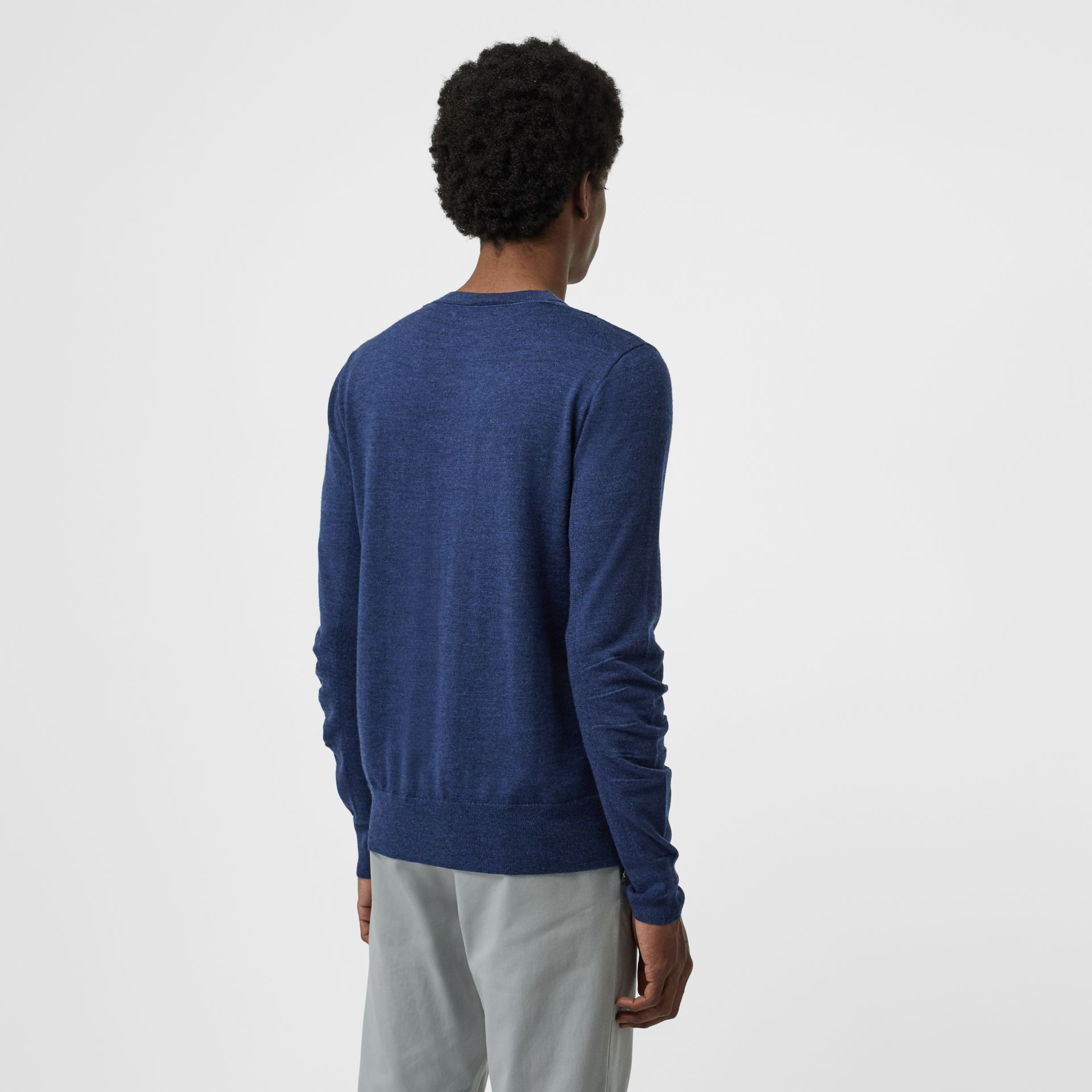 Rib Knit Detail Merino Wool Sweater in Storm Blue - Men | Burberry United Kingdom - gallery image 2